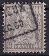 Switzerland / Schweiz / Suisse : 1867-1881 Sitzende Helvetia Weisses Papier WZ 1 40 C Grau Michel 34 - 1862-1881 Zittende Helvetia (getande)