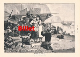 936 Billet Heimkehr Vom Fischfang Fischer Boote Druck 1902 !! - Prints
