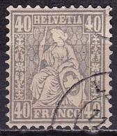 Switzerland / Schweiz / Suisse : 1881 Sitzende Helvetia Faserpapier WZ 1 40 C Grau Michel 42 - Oblitérés