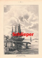 937 Schlieper Flensburger Föhrde Segelschiff Druck 1902 !! - Prints