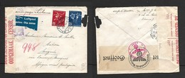 1944, 50c Air Mail, MALLERAY - BELVILARD 3.1.4>.Magude,LISBON Transit, German & Union Censor - Schweiz