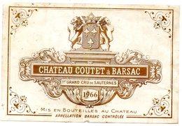 Etiquette (11,2X7,5) Château COUTET à Barsac 1966 1er Grand Cru De Sauternes Appellation Barsac - Bordeaux