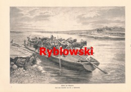 939 Rybkowski Fähre Am Dnjestr Viehtransport Druck 1902 !! - Prints