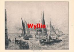941 Wyllie Schlepptau Gegen Die Flut Segelschiff Druck 1914 !! - Prints