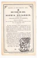 DP Sophia Dujardin ° Ruien Kluisbergen 1832 † 1887 X Franciscus D'Heere - Images Religieuses
