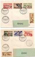 PARIS 1965 = CACHET PREMIER JOUR SERIE SPORTS N° 960 / 965 + Recommandé 2 ENV ENTIERES - 1950-1959