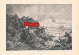 943 Pratt Schiffbruch Segelboot Küste Druck 1897 !! - Prints