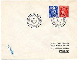 PARIS 1953 = CACHET PETIT FORMAT TEMPORAIRE  = SALON DE LA MACHINE AGRICOLE - Marcophilie (Lettres)