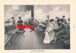 944 Mahn Auf Dem Deck Bodenseedampfer Dampfschiff Druck 1897 !! - Prints