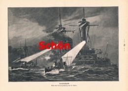945 Schön Torpedo-Angriff Kriegsschiffe Druck 1897 !! - Prints