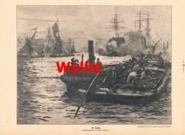 946 Wyllie Im Hafen Segelboote Matrosen Schiffe Druck 1913 !! - Prints