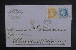 FRANCE - Lettre De Lille Pour Anvers En 1870 , Affranchissement Napoléons , Cachet PD - L 33202 - Storia Postale