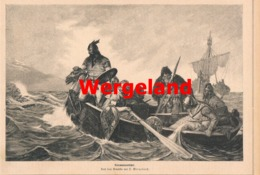 947 Wergeland Normannenfahrt Segelschiff Druck 1879 !! - Prints