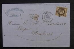 FRANCE - Lettre De Paris Pour Malines En 1868 , Affranchissement Napoléon 30ct , Cachet PD - L 33204 - Storia Postale