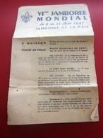 1947 PROGRAMME - VI éme JAMBOREE MONDIAL DE LA PAIX: à MOISSON à 70KM DE PARIS ROUTE DE MANTES à VERNON -PLAN DU CAMP - Scouting