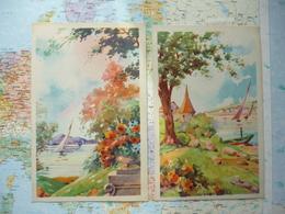 Paysages Au Bord D'un Lac / Illustrations 2 Cartes Art Chop 8 & 10 - Illustrateurs & Photographes
