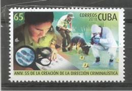Cuba 2018 55th Anniversary Of Criminalist Direction (Police, Gendarme, Guardia Civil, Dog, Perros, Drug) 1v MNH - Droga