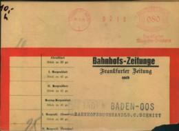 1928, Bahnhofszeitungen (Adressteil) Mit 80 Pfg. Freistempel Ab FRANKFURT/MAIN. - Covers
