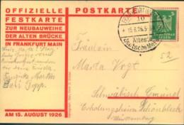 """1926, Festpostkarte Zur """"Neubauweihe Der Alten Brükce In Frankfurt Main""""! - Alemania"""