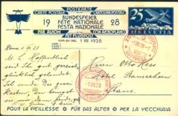 1928, 25 Rp Flugpost Ganzsachenkarte Gelaufen, Abb. Großmutter M. Enkel - Airmail