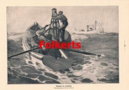 951 Folkers Anzünden Der Leuchtboje Matrosen Schiff Druck 1913 !! - Prints