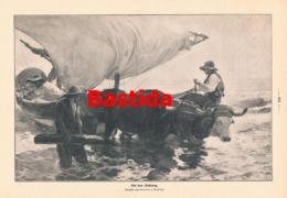952 Sorolla Bastida Auf Dem Fischfang Fischerei Schiff Druck 1913 !! - Prints
