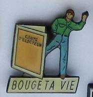 W139 Pin's POLITIQUE Carte électeur Bouge Ta Vie  Achat Immediat - Administrations