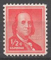 1958 Liberty Series 1/2 Cent Franklin, Mint Never Hinged - United States