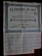 """AIX LES BAINS 1926 """"LA FONCIERE DE L'EST & LITTORAL""""PART DE FONDATEUR AU PORTEUR ACTION/TITRE 500fr FONCIER SCRIPOPHILIE - Aandelen"""