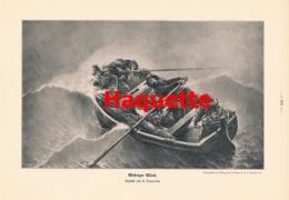959 Haquette Widriger Wind Seenot Schiff Matrosen Druck 1905 !! - Prints