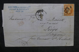 FRANCE - Lettre De Cette Pour Liège En 1864 , Affranchissement Napoléon 40ct - L 33208 - Marcofilie (Brieven)