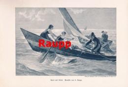 961 Raupp Sport Und Arbeit Segelboot Kunstblatt Druck 1893 !! - Prints
