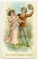 WITH LOVING CHRISTMAS WISHES - ROMANTIC COUPLE (TUCKS - EMBOSSED) - Christmas