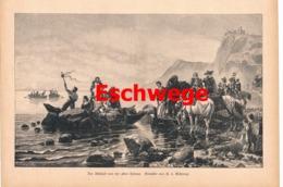 962 Eschwege Abschied Boote Reiter Kunstblatt Druck 1890 !! - Prints