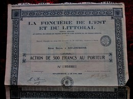 """AIX LES BAINS 1926 """"LA FONCIERE DE L'EST & Du LITTORAL AU PORTEUR ACTION/TITRE 500fr FONCIER SCRIPOPHILIE - Aandelen"""