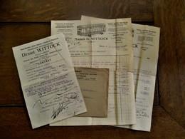 LOT  Van 4 Stuks  1928 Met Fiscale Zegels        Maison  D .  WITTOCK   ANVERS -- SUD    Succursale  YPRES - Belgique