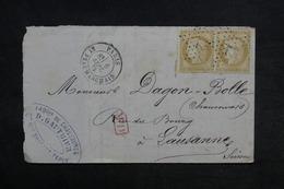 FRANCE - Lettre De Paris Pour La Suisse En 1875 , Affranchissement Cérès En Paire , étoile 12 - L 33212 - Marcofilie (Brieven)
