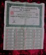 """PARIS 1922 """"BANQUE ITALO-FRANCAISE DE CREDIT ACTION / TITRE DE 500fr  AU PORTEUR - SCRIPOPHILIE - Bank & Insurance"""