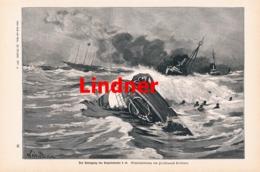 967 Lindner Untergang Torpedoboot S 26 Druck 1897 !! - Prints