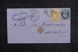 FRANCE - Lettre De Condé / Escaut Pour Anvers En 1869 , Affranchissement Napoléons - L 33217 - Storia Postale