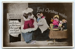 FOND CHRISTMAS WISHES / NOVELTY - PRESS TO SQUEAK / ANTHROMORPHIC - DOG AS SANTA CLAUS / ADDRESS - LLANGWYFAN - Santa Claus