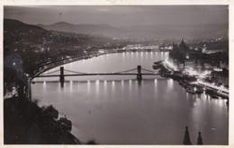 AS51 Budapest, View Of The Danube By Night - RPPC - Hungary