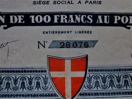 """PARIS 1923 """"GRAND CASINO DE CHAMONIX - MONT-BLANC  ACTION / TITRE DE 100fr AU PORTEUR ENTIÈREMENT LIBÉRÉE- SCRIPOPHILIE - Casino"""