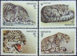 145.KYRGYZSTAN 1994 SET/4 STAMP WILD ANIMALS, LEOPARD, PANTHER . MNH - Kirgizië