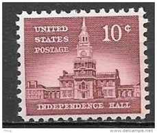 1956 Liberty Series 10 Cents Independence Hall, Mint Never Hinged - United States