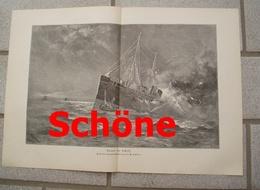 973 Schöne Feuer Im Schiff 41 X 29 Cm Großbild 1898 !! - Prints