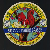 """Ancienne Etiquette Fromage  Le Bel écureuil 30%mg """" LCC"""" Laiterie Coop De Chadenac  Charente Maritime - Cheese"""