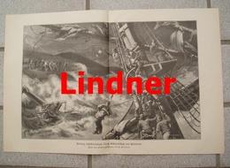 974 Rettung Schiffbrüchiger Hosenboje 41 X 28 Cm Großbild 1898 !! - Prints