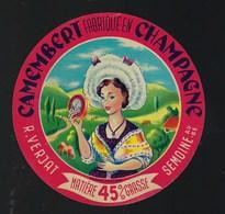"""Ancienne Etiquette Fromage  Camembert Fabriqué En Champagne 45%mg R Verjat Semoine Aube10 """" Variante De Couleur"""" - Cheese"""