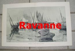 975 Ravanne Fischerbarken Ebbe 44 X 28 Cm Großbild 1898 !! - Prints